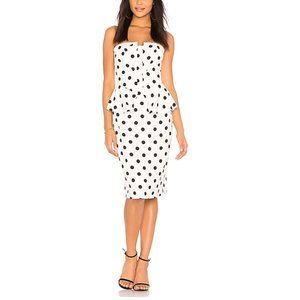 BARDOT Strapless Polka Dot Peplum Dress